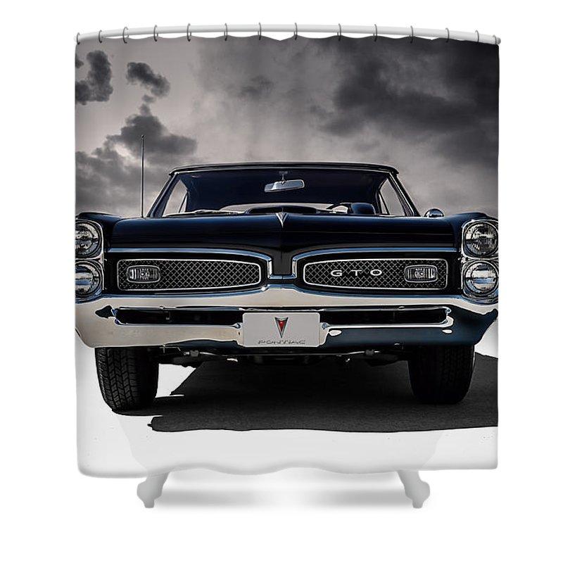 Transportation Shower Curtain featuring the digital art '67 Gto by Douglas Pittman