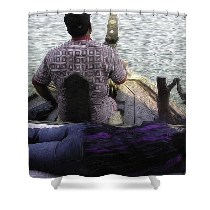 Boat Shower Curtain featuring the digital art Lady Sleeping While Boatman Steers by Ashish Agarwal