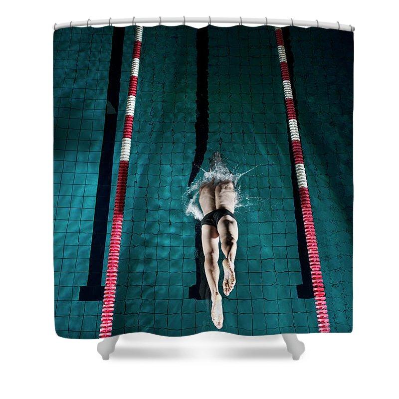 Copenhagen Shower Curtain featuring the photograph Professional Swimmer by Henrik Sorensen