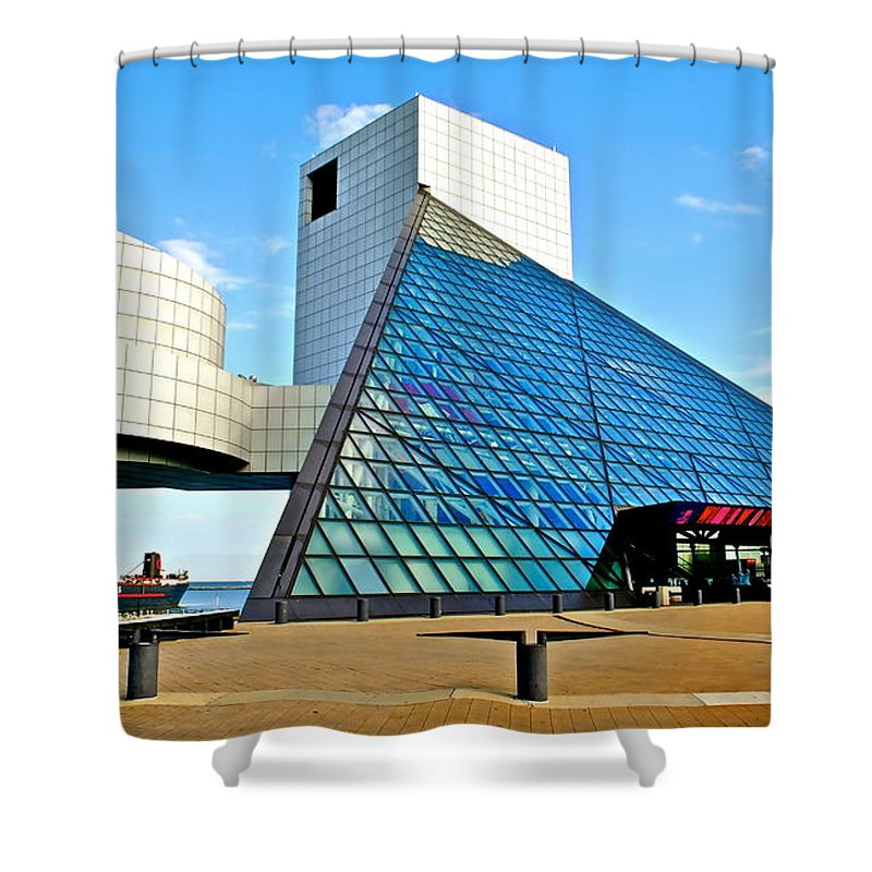 Rock Shower Curtain featuring the photograph Rock and Roll Hall of Fame by Frozen in Time Fine Art Photography