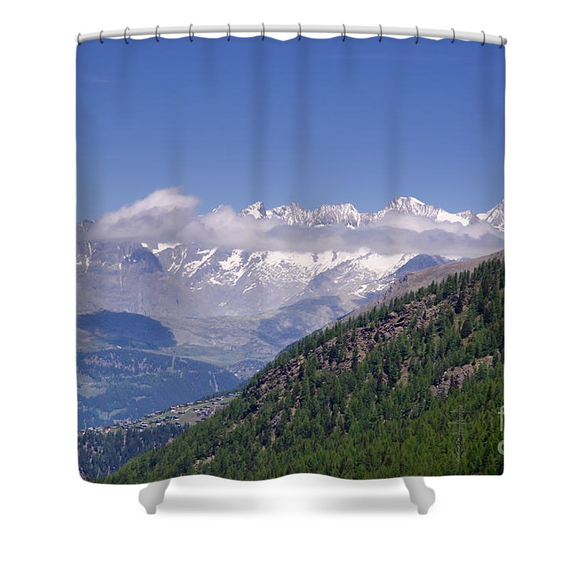 Mountain Shower Curtain featuring the photograph Swiss Alps by Mats Silvan