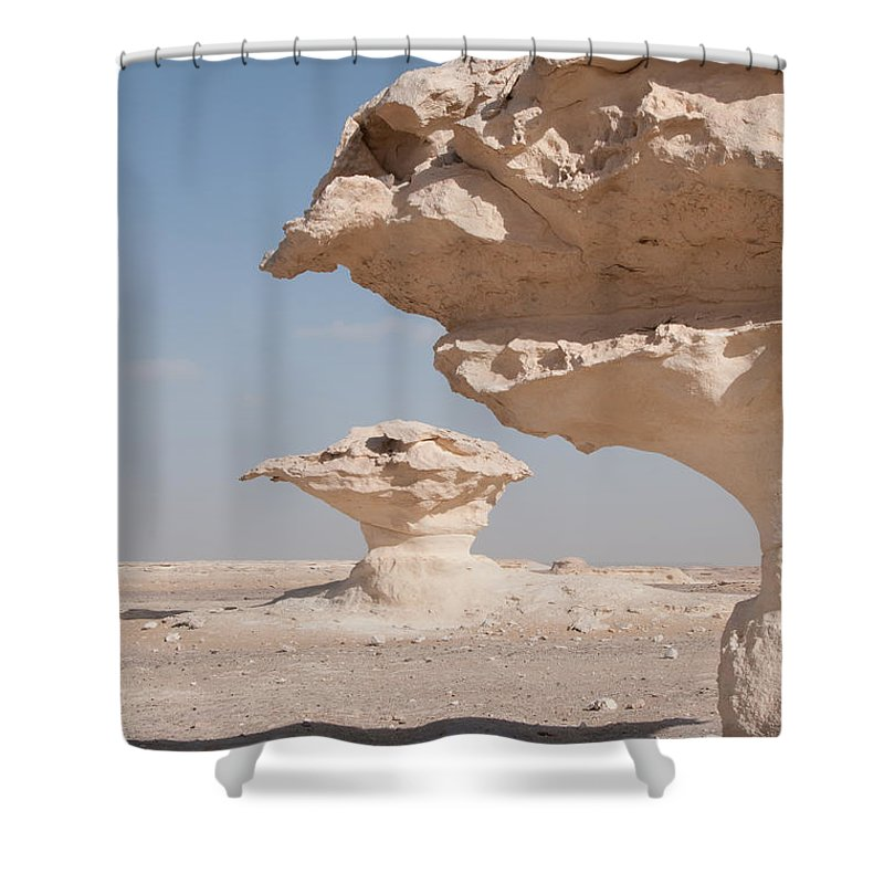 Egypt Desert Shower Curtain featuring the digital art White Desert by Carol Ailles
