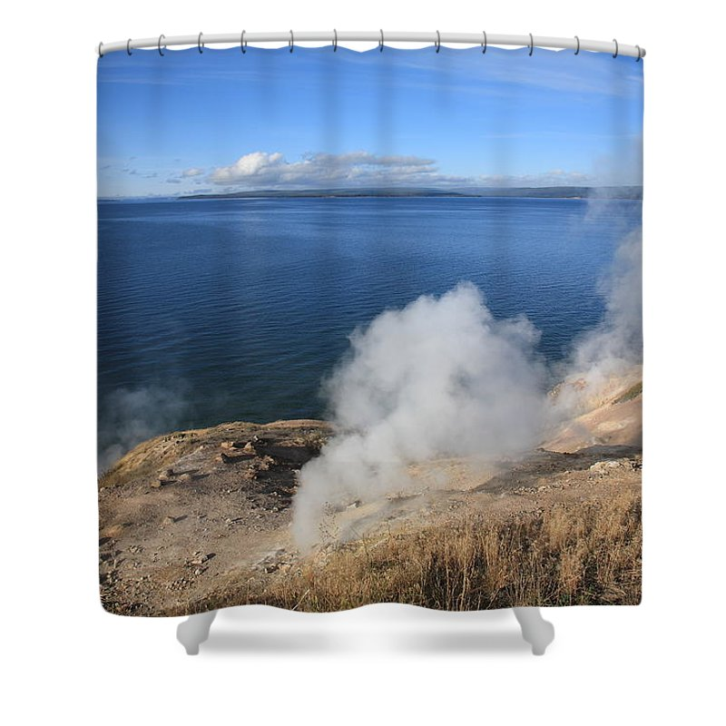 America Shower Curtain featuring the photograph Yellowstone Lake And Geysers by Frank Romeo