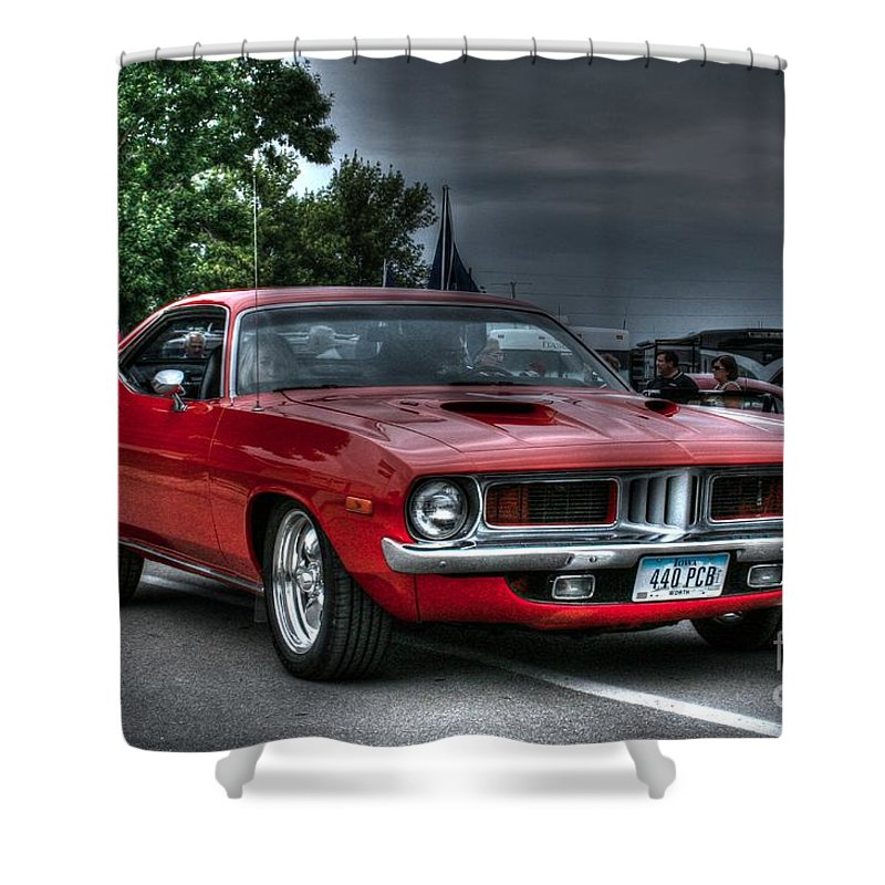 1972 Plymouth Cuda 440 Shower Curtain featuring the photograph 72 Cuda by Tommy Anderson