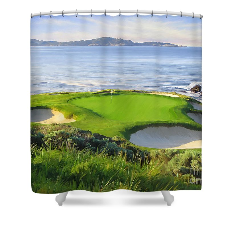 7th Hole Shower Curtain Featuring The Painting At Pebble Beach By Tim Gilliland