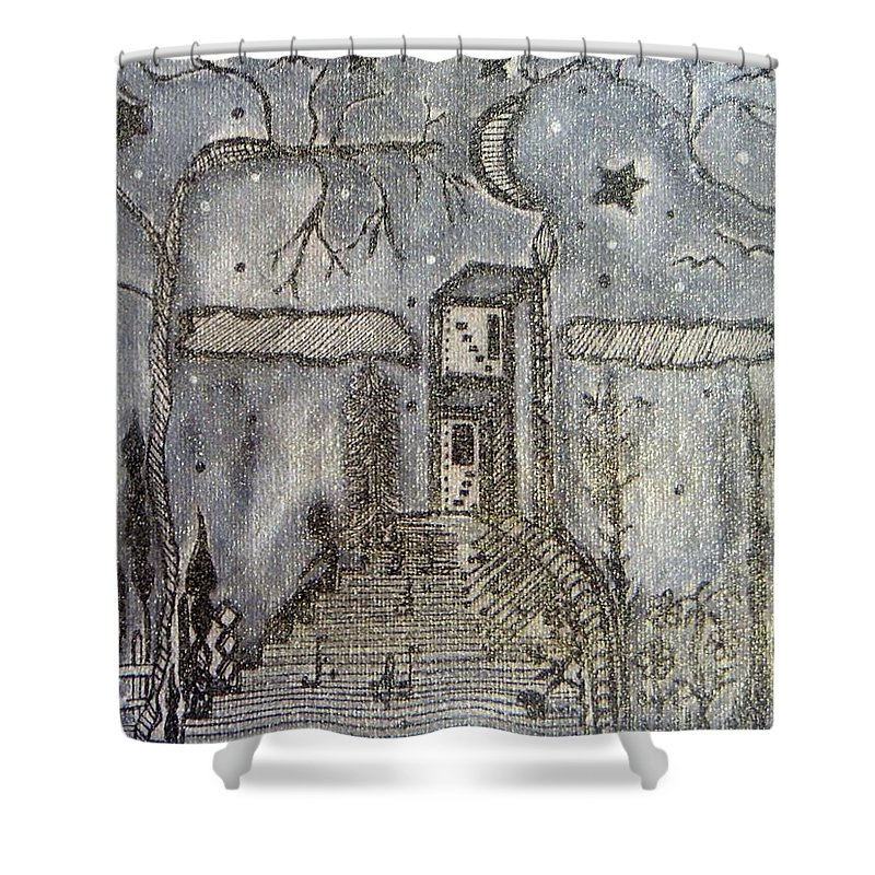 Pikotine Shower Curtain featuring the painting Art Monochrome by Pikotine Art