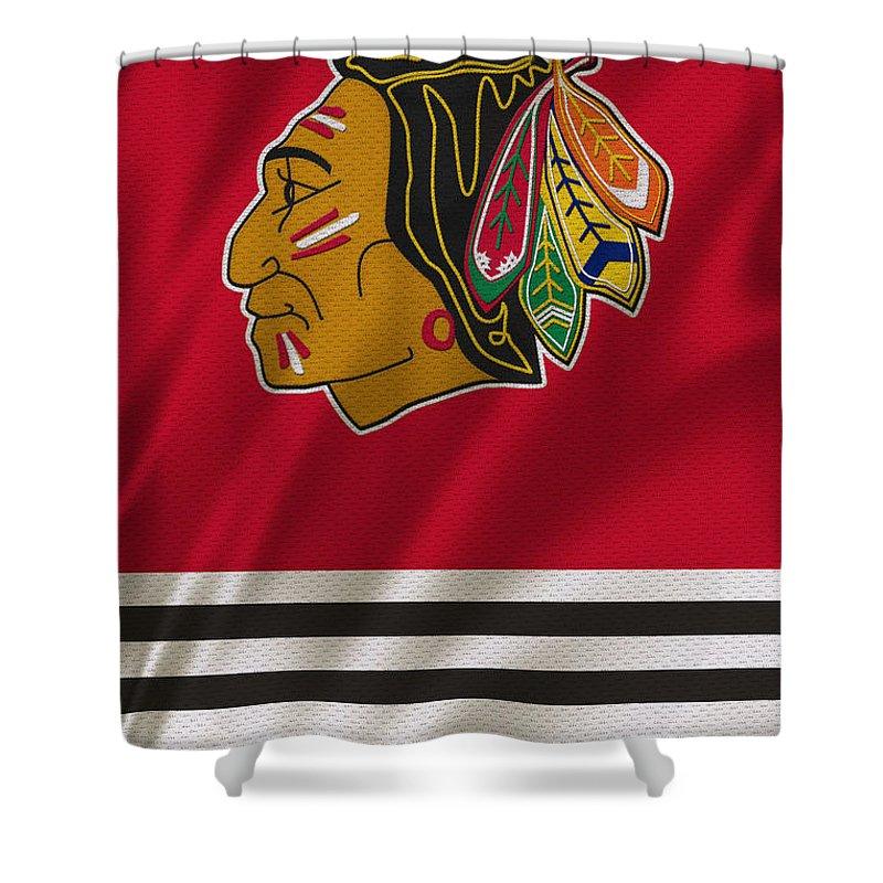 Blackhawks Shower Curtain Featuring The Photograph Chicago Uniform By Joe Hamilton
