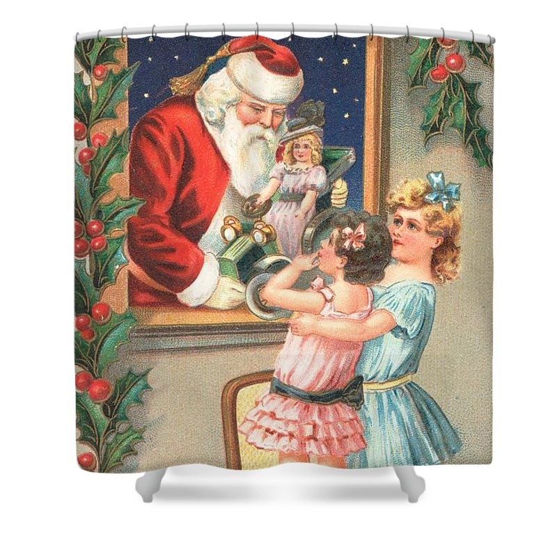 Christmas Shower Curtain featuring the painting Christmas Card by English School