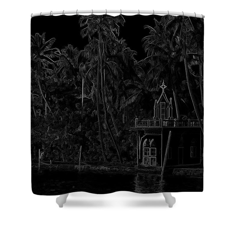 Building Shower Curtain featuring the digital art Church Located Next To A Canal by Ashish Agarwal