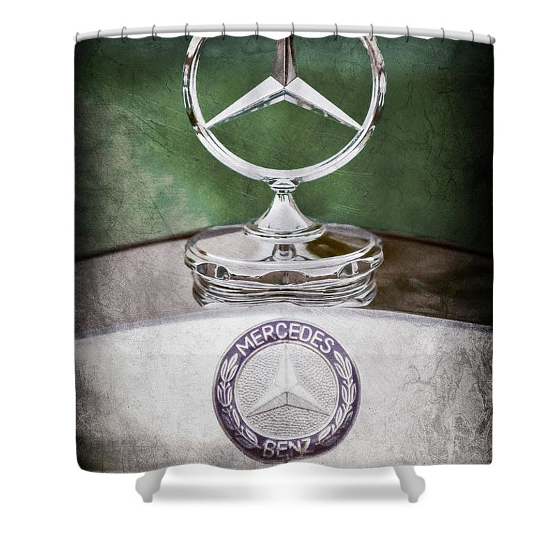 Mercedes Benz Hood Ornament Shower Curtain featuring the photograph Mercedes Benz Hood Ornament by Jill Reger