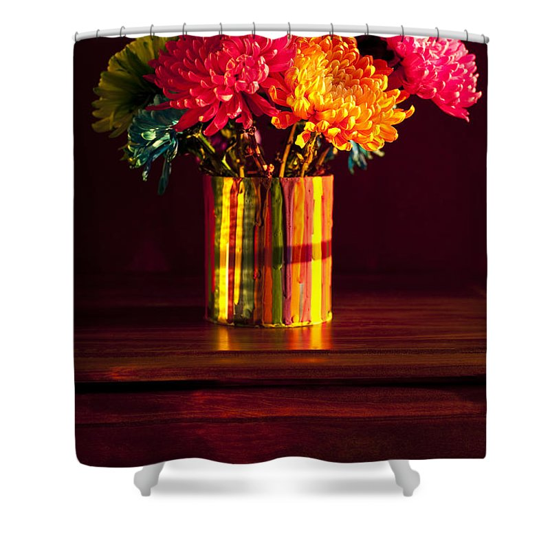 Art Shower Curtain featuring the photograph Multicolored Chrysanthemums In Paint Can by Jim Corwin