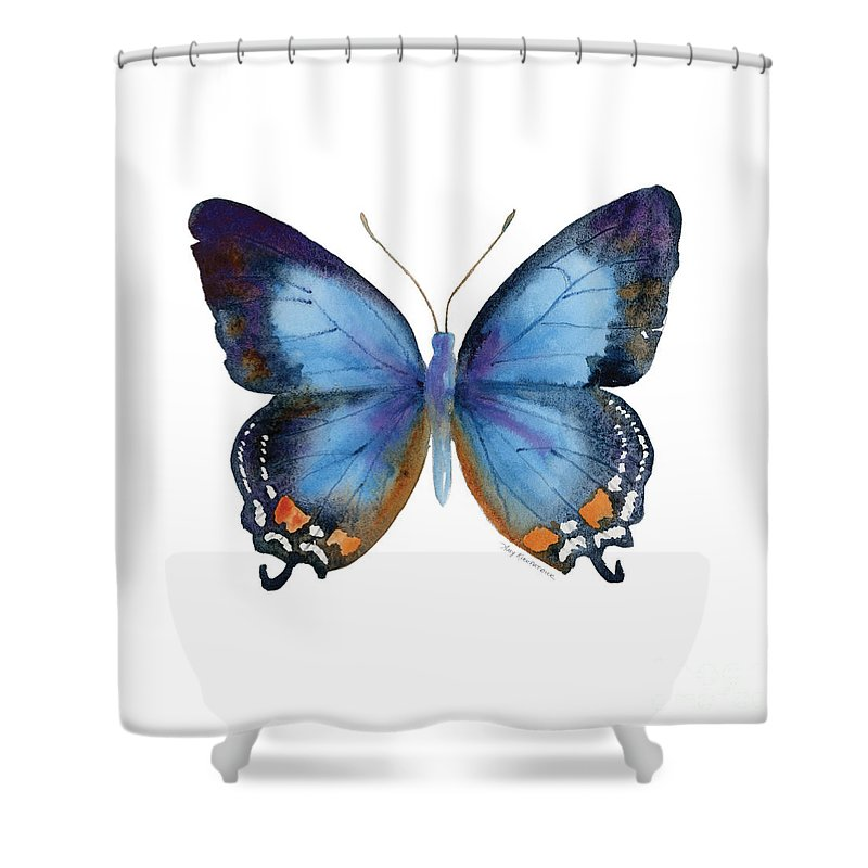 Imperial Blue Butterfly Shower Curtain Featuring The Painting 80 By Amy Kirkpatrick