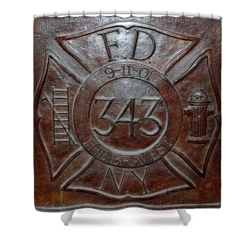 Fdny Shower Curtain featuring the photograph 9 11 01 F D N Y 343 by Rob Hans