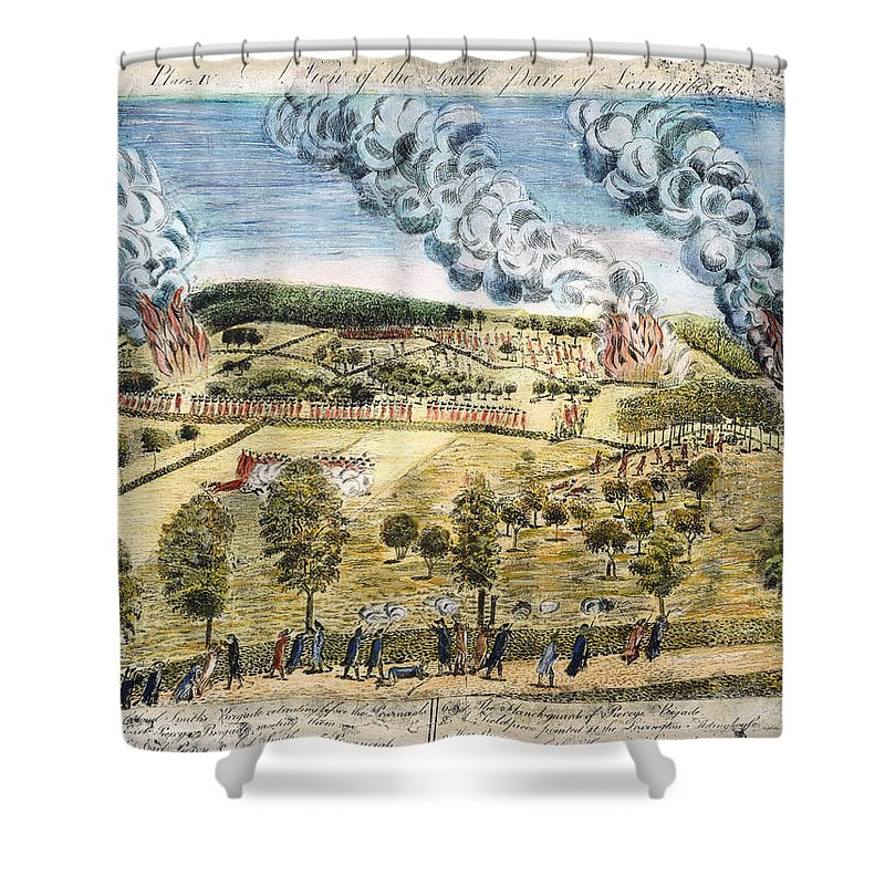 1775 Shower Curtain featuring the photograph Battle Of Lexington, 1775 by Granger