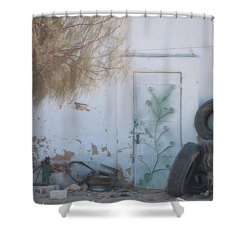 El Farafar Oasis Shower Curtain featuring the digital art El Farafar Oasis by Carol Ailles