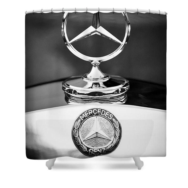 Mercedes-benz Hood Ornament Shower Curtain featuring the photograph Mercedes-benz Hood Ornament by Jill Reger