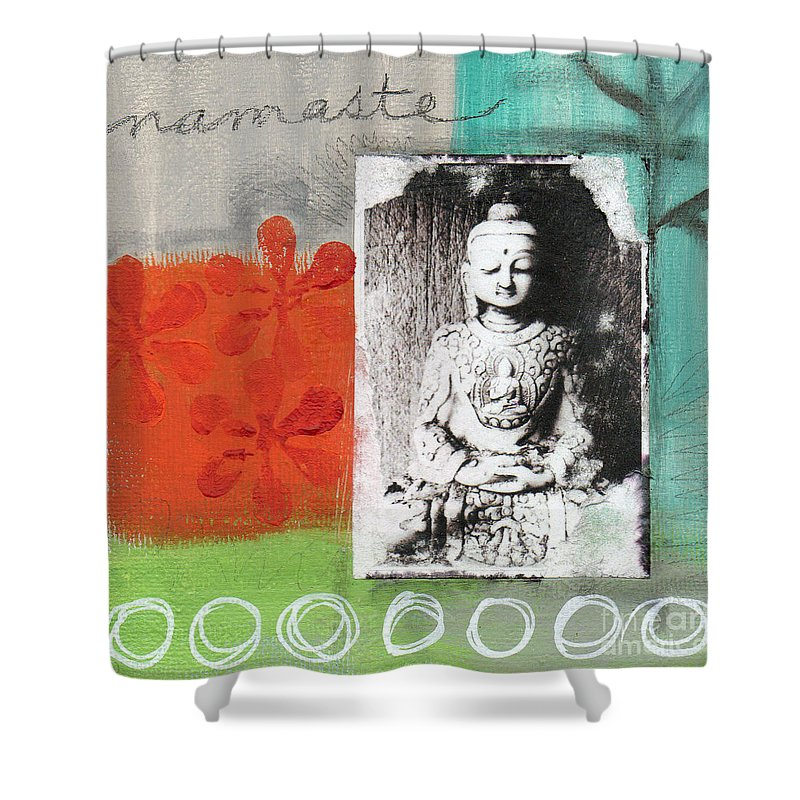 Buddha Shower Curtain featuring the painting Namaste by Linda Woods
