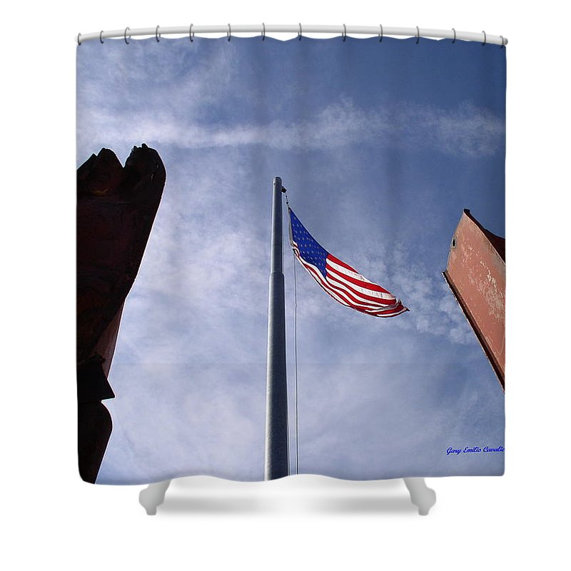 Flag Shower Curtain featuring the photograph 911 Tribute At Winslow Arizona by Gary Emilio Cavalieri