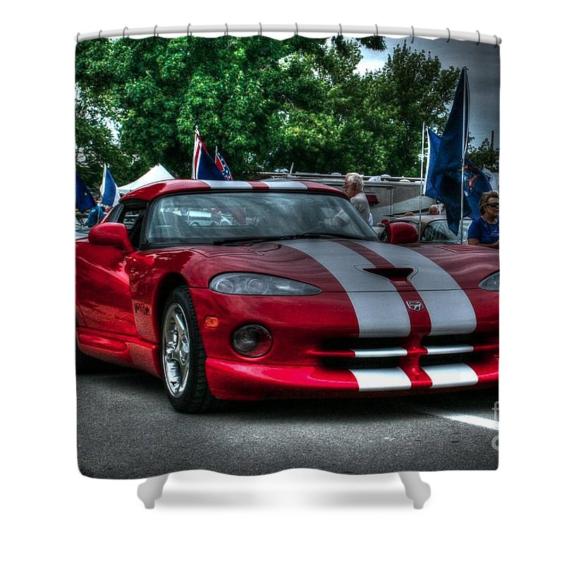 1996 Dodge Viper Shower Curtain featuring the photograph 96 Viper by Tommy Anderson