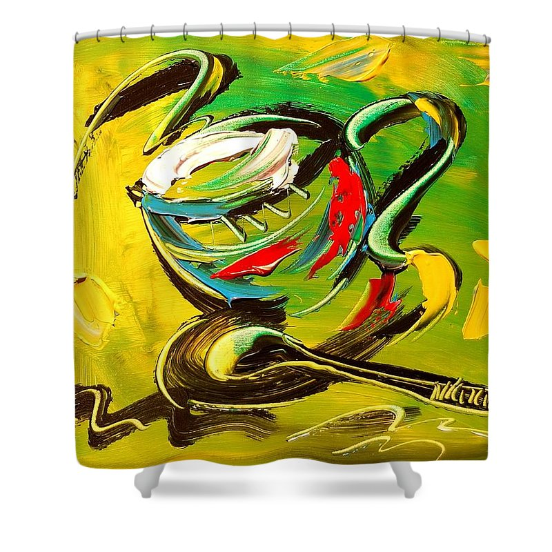 Shower Curtain featuring the painting Coffee by Mark Kazav