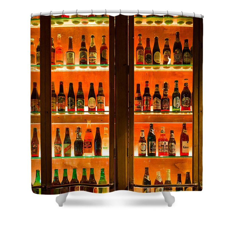 Amber Shower Curtain Featuring The Photograph 99 Bottles Of Beer On Wall By Semmick Photo