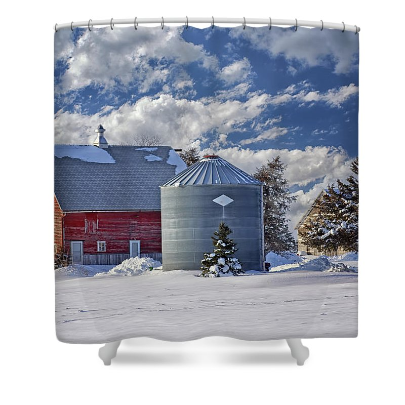 Red Barns Shower Curtain featuring the photograph A Beautiful Winter Day by Nikolyn McDonald