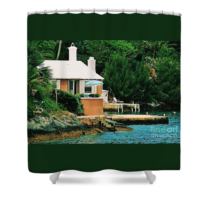 Architecture Bermuda Art Travel Serene Stock Shot Tropical Cottage Tranquil Whimsical Chimneys Windows Balcony Outdoors Water Dock Foliage Film Stock Canvas Print Suggested Metal Frame Poster Print Available On Mugs Greeting Cards T Shirts Shower Curtains Tote Bags Pouches Weekender Tote Bags And Phone Cases Shower Curtain featuring the photograph A Cottage In Bermuda # 1 by Marcus Dagan