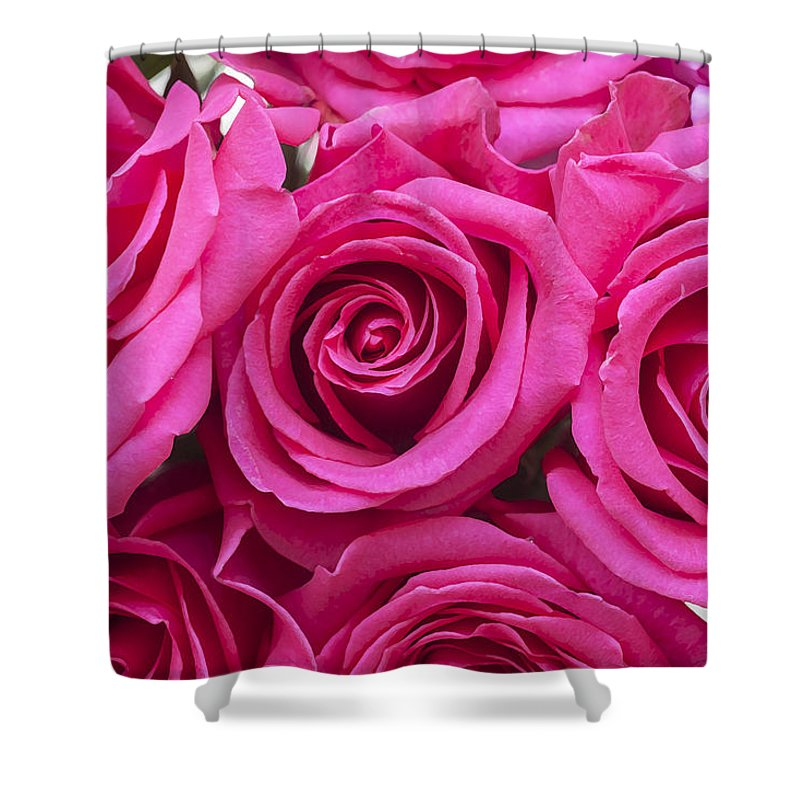 Pink Roses Shower Curtain featuring the photograph A Bouquet Of Pink Roses by Rich Franco