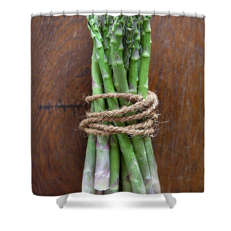 Kitchen Shower Curtain featuring the photograph A Bundle Of Asparagus by Halfdark