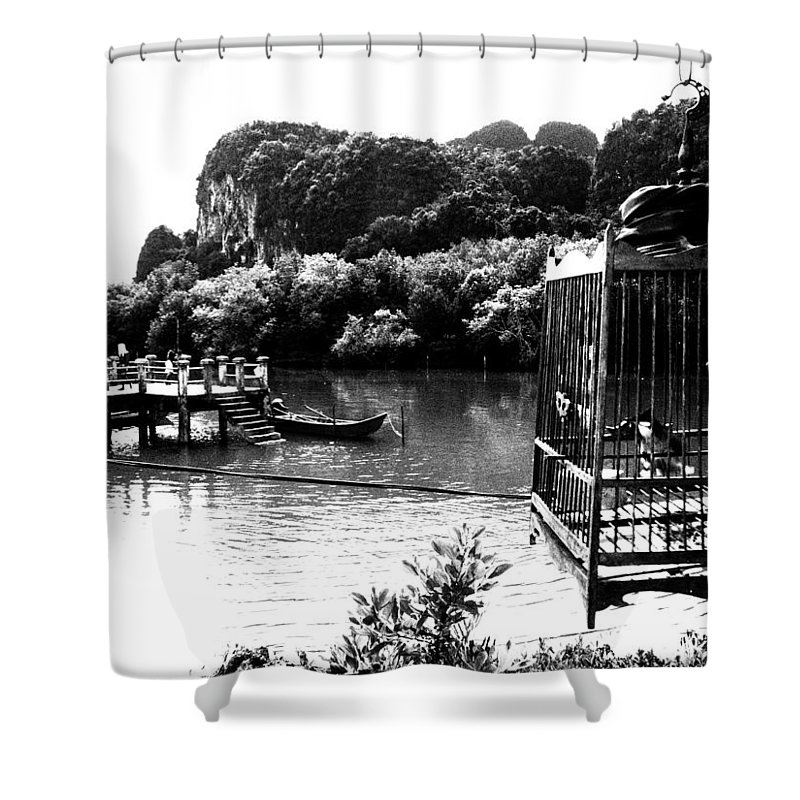 Cage Shower Curtain featuring the photograph A Caged Bird's Vista by Kaleidoscopik Photography