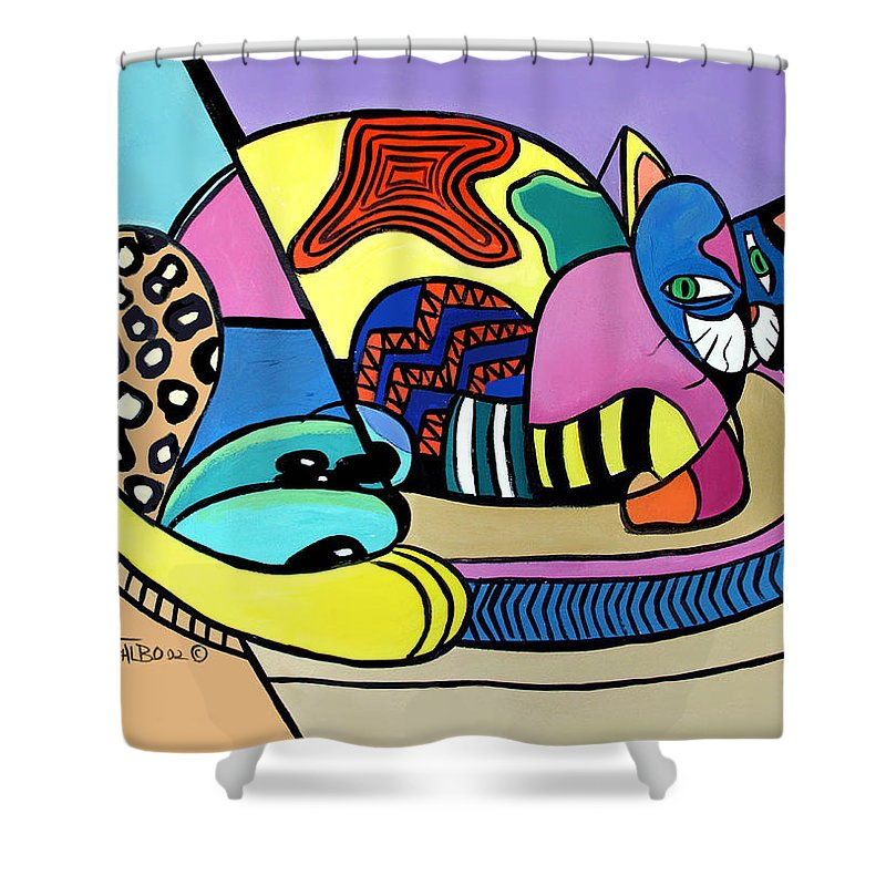 A Cat Named Picasso Shower Curtain Featuring The Painting By Anthony Falbo