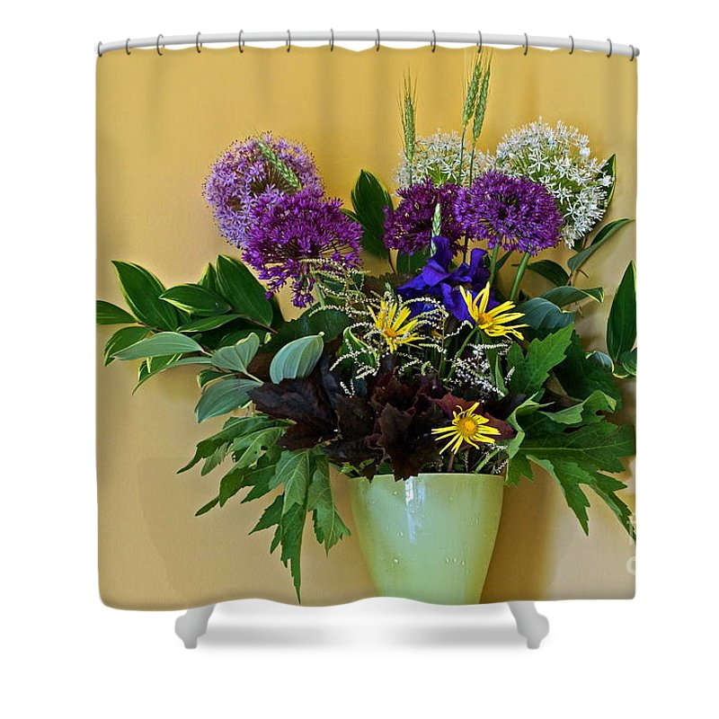 Floral Spring Bouquets Shower Curtain featuring the photograph A Chanticleer Spring Bouquet by Byron Varvarigos