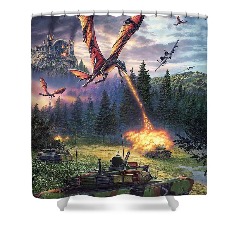 Dragon Shower Curtain featuring the painting A Clash Of Worlds by Stu Shepherd