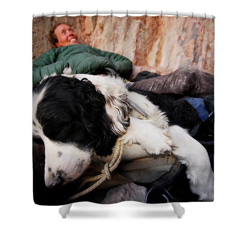 Adult Shower Curtain featuring the photograph A Climber And Her Dog Lay by Rich Wheater