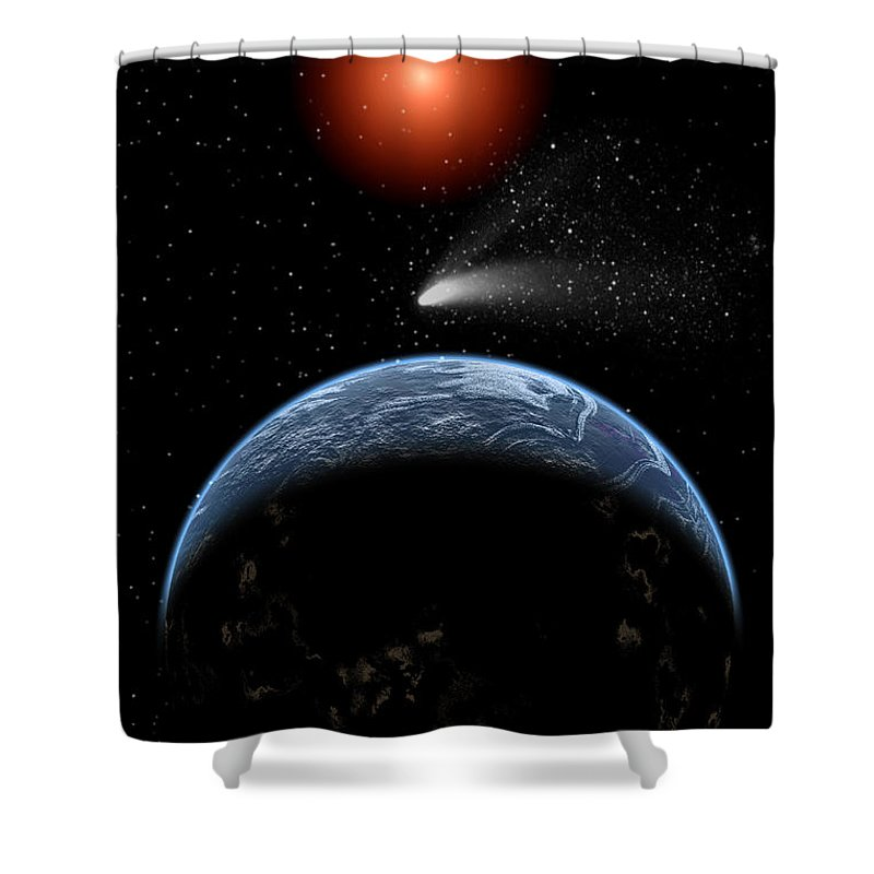 Vertical Shower Curtain featuring the digital art A Comet Passing The Earth On Its Return by Mark Stevenson