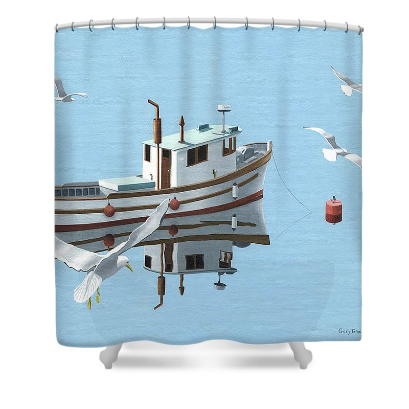 Boat Shower Curtain featuring the painting A Contemplation Of Seagulls by Gary Giacomelli