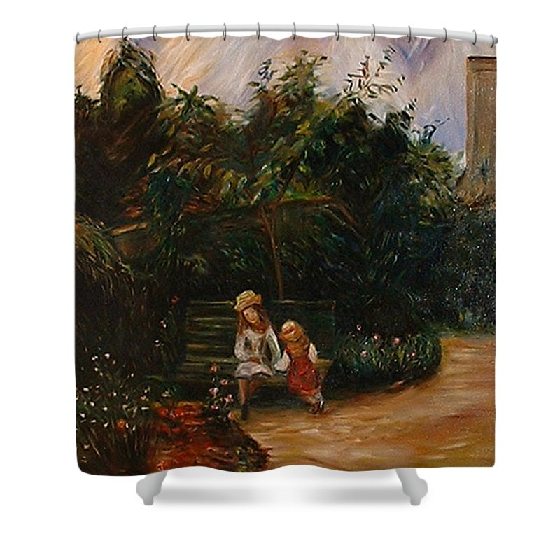 Classic Art Shower Curtain featuring the painting A Corner Of The Garden At The Hermitage by Silvana Abel