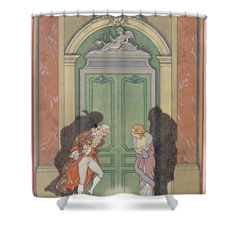Male Shower Curtain featuring the painting A Couple In Candlelight by Georges Barbier