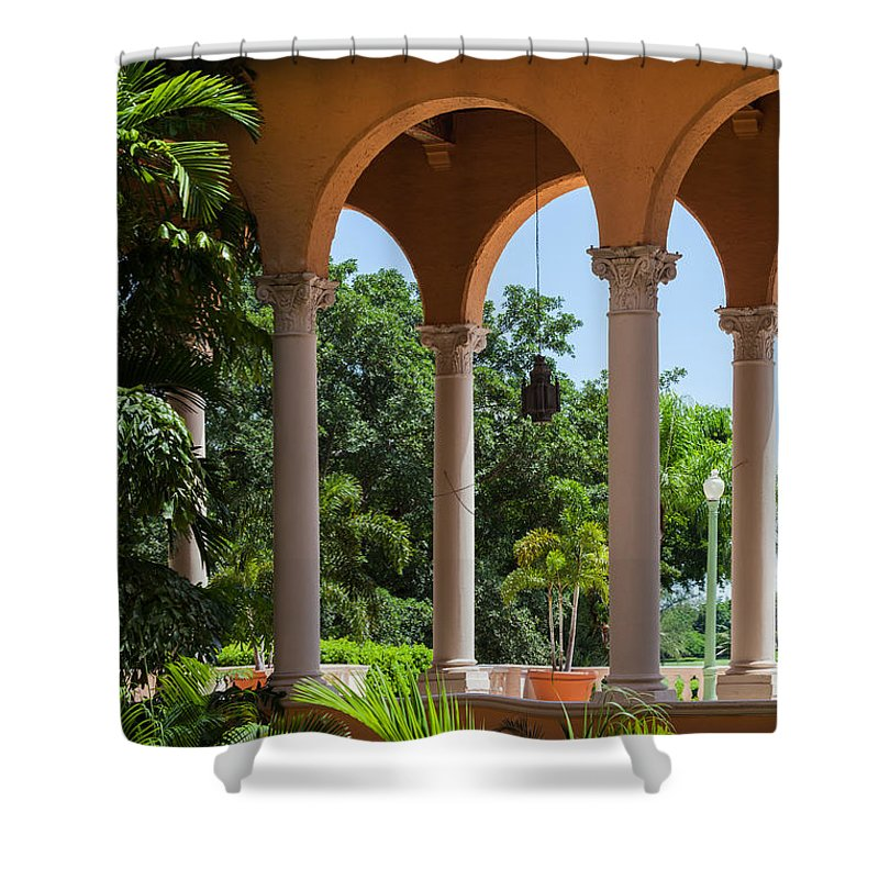 Arches Shower Curtain featuring the photograph A Covered Walkway At The Biltmore by Ed Gleichman