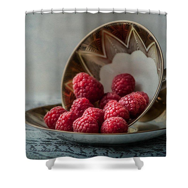 Raspberries Shower Curtain featuring the photograph A Cupfull Of Raspberries by Maggie Terlecki