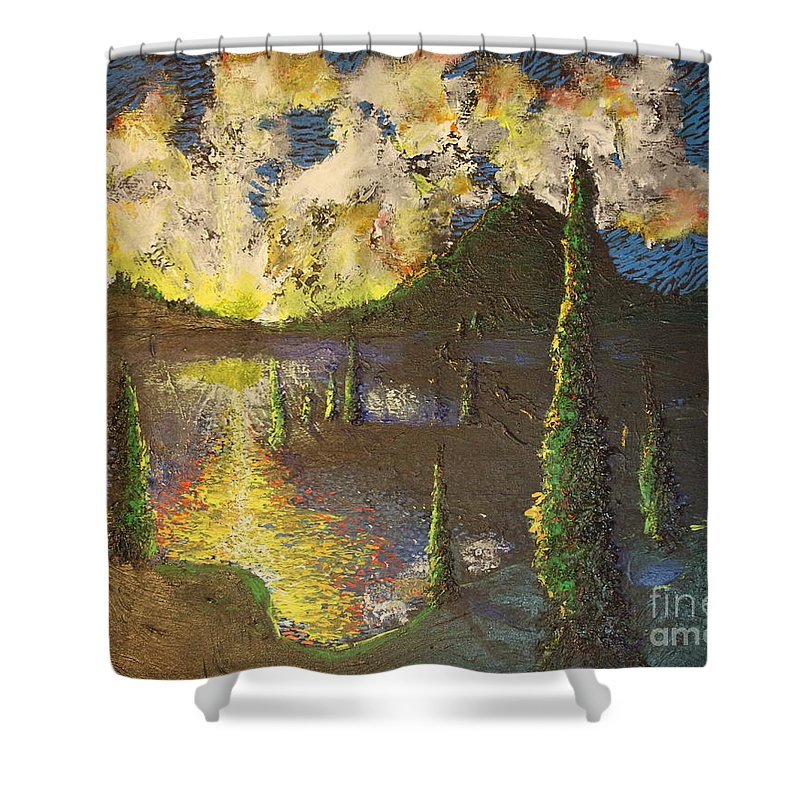Landscape Shower Curtain featuring the painting A Cypress Congregation by Stefan Duncan