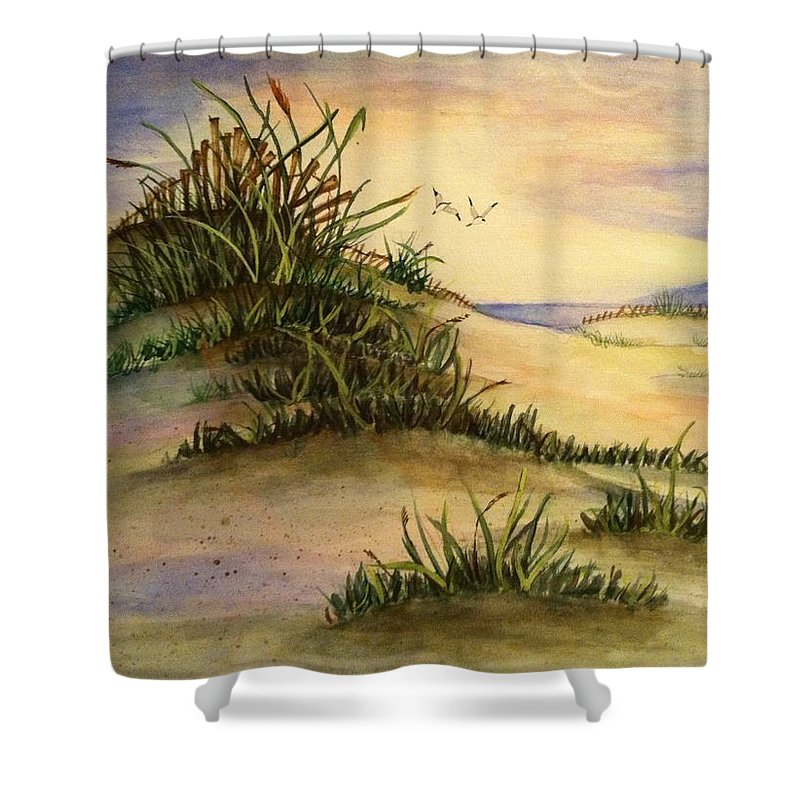Shower Curtain featuring the painting A Day At The Beach by Hae Kim