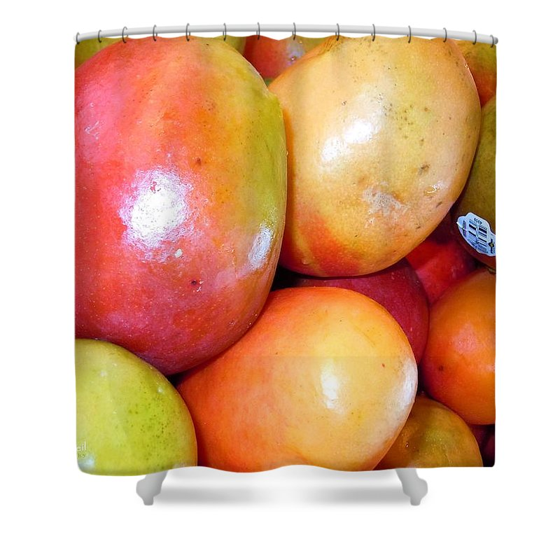 Mango Shower Curtain featuring the photograph A Day At The Market #1 by Robert ONeil