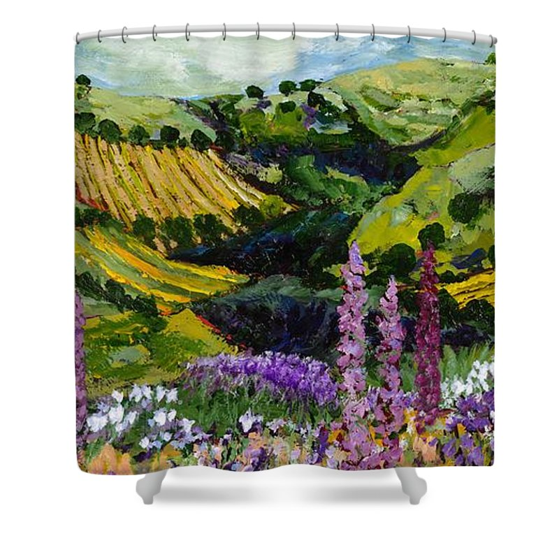 Landscape Shower Curtain featuring the painting A Different Garden by Allan P Friedlander