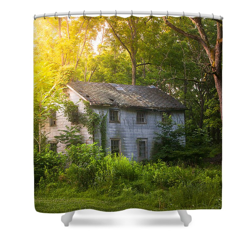 Old House Shower Curtain featuring the photograph A Fading Memory One Summer Morning - Abandoned House In The Woods by Gary Heller