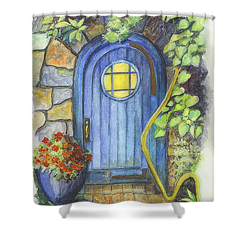 Drawing Shower Curtain featuring the painting A Fairys Door by Carol Wisniewski