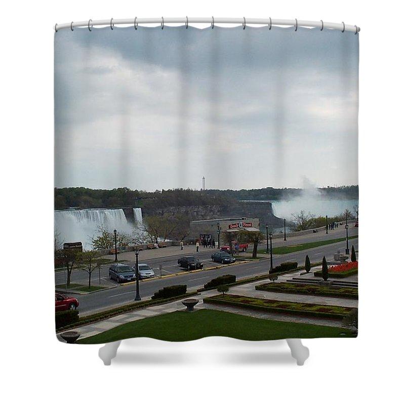 Niagara Falls Shower Curtain featuring the photograph A Favorite Walkway by Barbara McDevitt