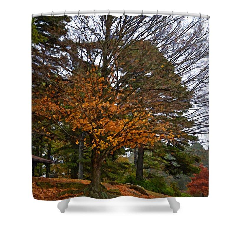 Autumn Shower Curtain featuring the photograph A Few Gold Left 2 - Digital Paint by Debbie Portwood
