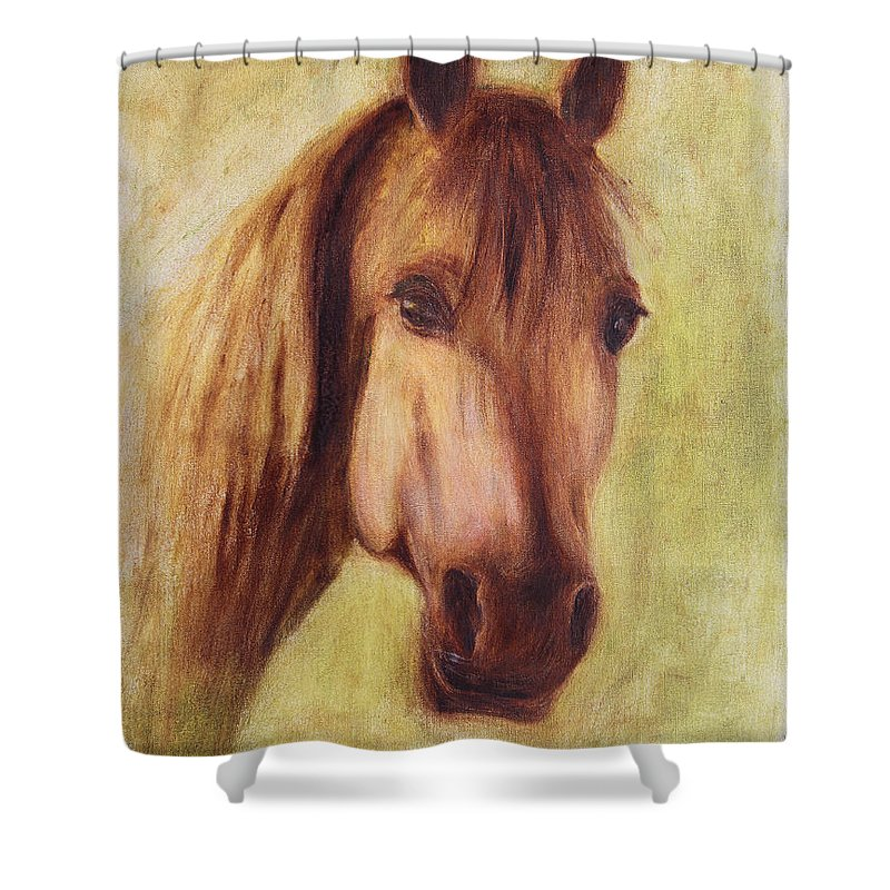 Portrait Shower Curtain featuring the painting A Fine Horse by Xueling Zou