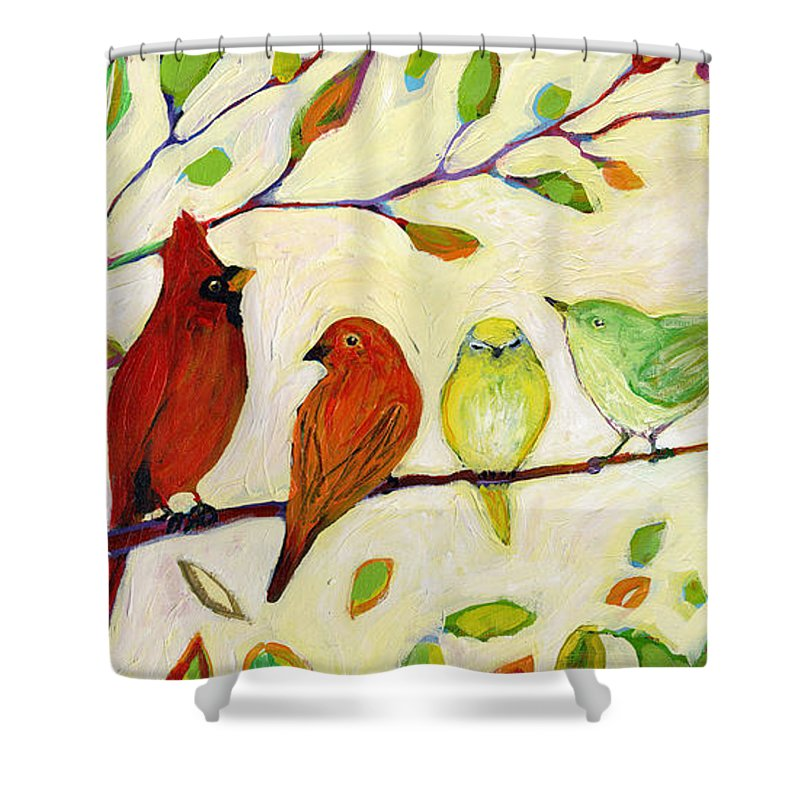 Bird Shower Curtain featuring the painting A Flock of Many Colors by Jennifer Lommers